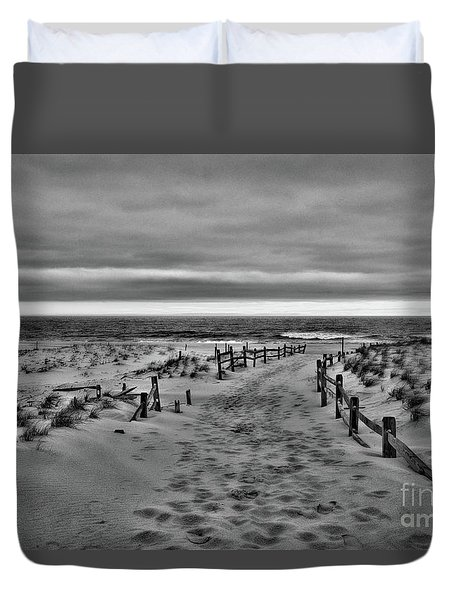 Beach Entry In Black And White Duvet Cover by Paul Ward