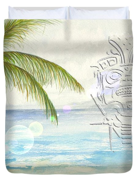 Duvet Cover featuring the digital art Beach Etching by Darren Cannell