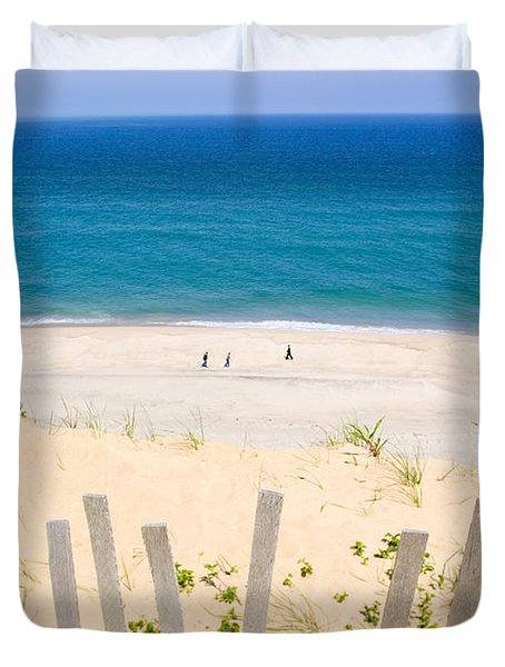beach fence and ocean Cape Cod Duvet Cover