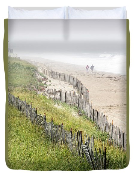 Beach Fences In A Storm Duvet Cover