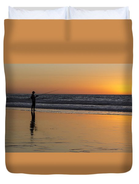Beach Fishing At Sunset Duvet Cover