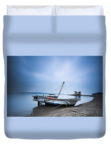 Beach Fishing Boat Duvet Cover