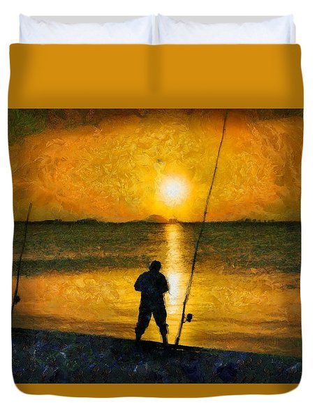Duvet Cover featuring the photograph Beach Fishing  by Scott Carruthers