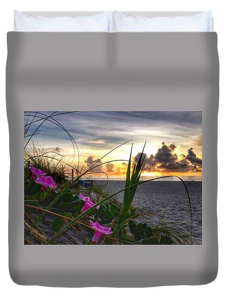 Beach Flowers Duvet Cover