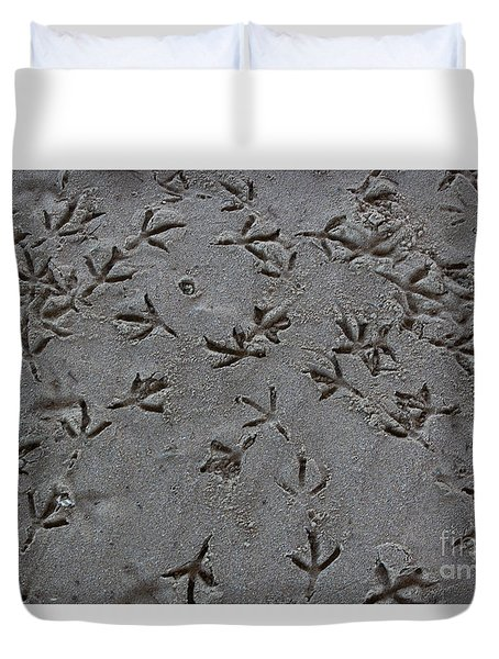 Duvet Cover featuring the photograph Beach Footprints by Suzanne Luft