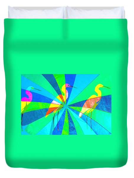 Duvet Cover featuring the digital art Beach Friends by David Lee Thompson