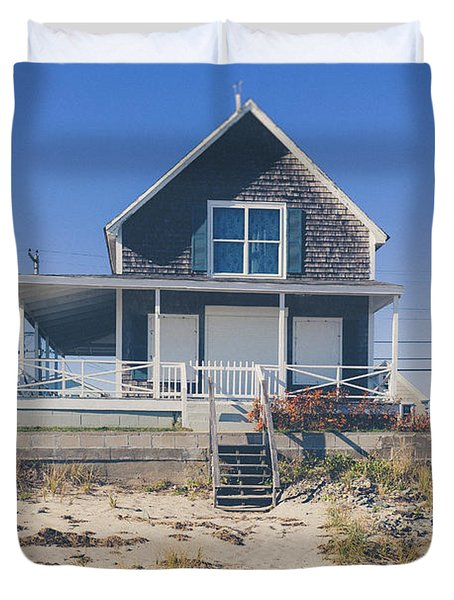 Duvet Cover featuring the photograph Beach Front Cottage by Edward Fielding