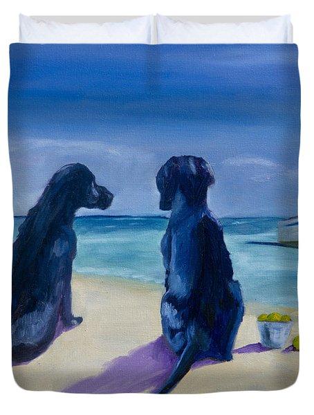 Beach Girls Duvet Cover by Roger Wedegis