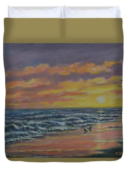 Duvet Cover featuring the painting Beach Glow by Kathleen McDermott