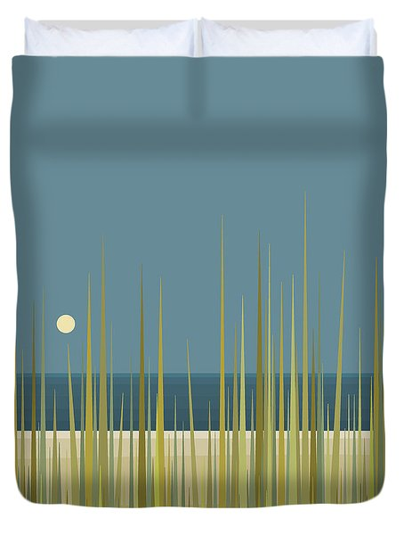 Duvet Cover featuring the digital art Beach Grass And Blue Sky by Val Arie