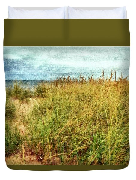 Duvet Cover featuring the digital art Beach Grass Path - Painterly by Michelle Calkins