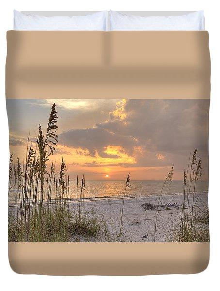 Beach Grass Sunset Duvet Cover