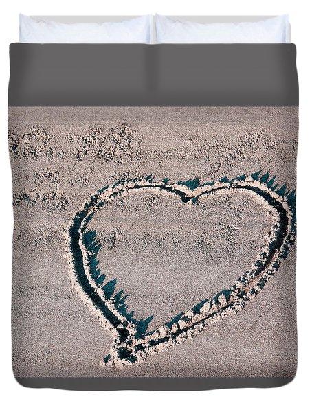 Beach Heart Duvet Cover