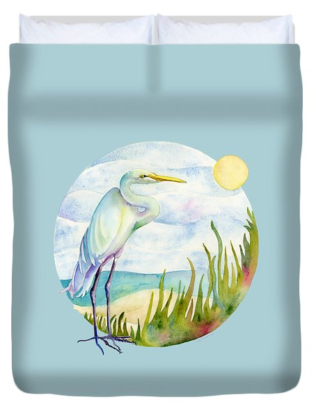 Beach Heron Duvet Cover