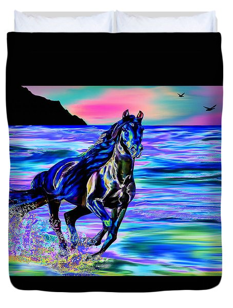 Beach Horse Duvet Cover