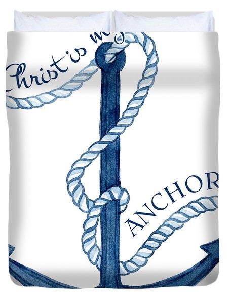Beach House Nautical Ship Christ Is My Anchor Duvet Cover