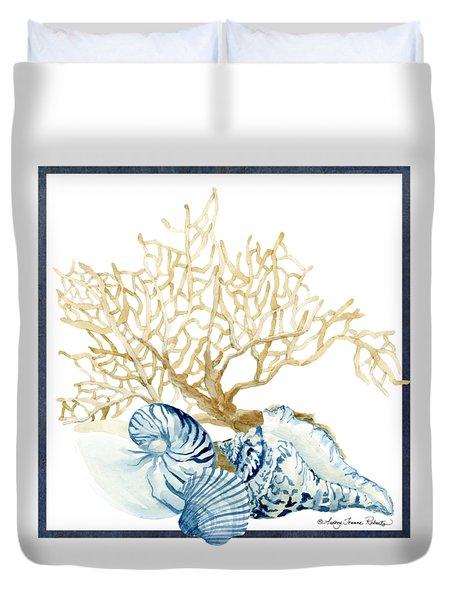 Beach House Nautilus Scallop N Conch With Tan Fan Coral Duvet Cover
