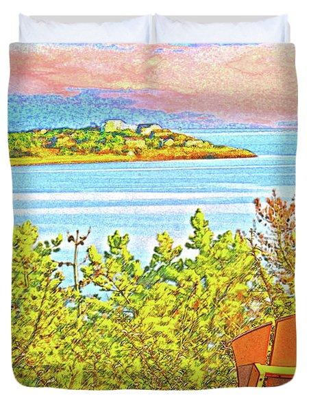 Beach House On The Bay Duvet Cover
