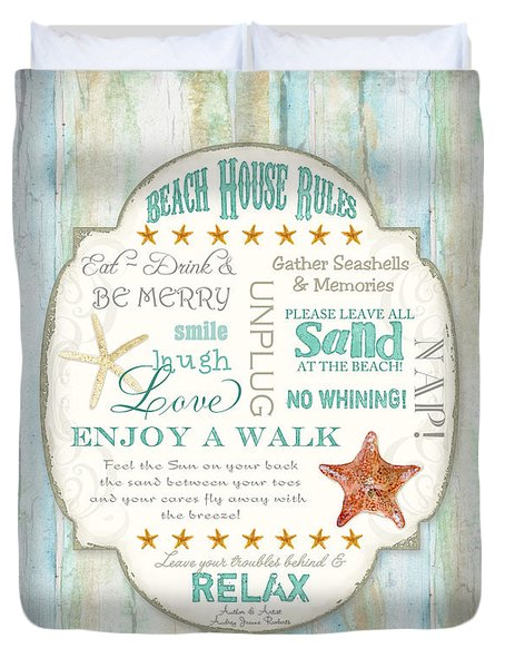 Beach House Rules - Refreshing Shore Typography Duvet Cover
