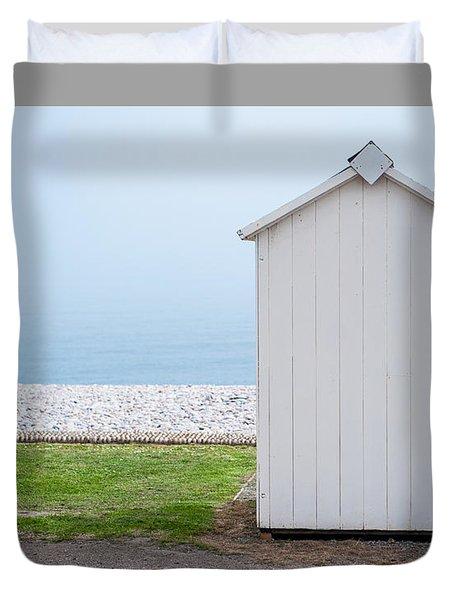 Beach Hut By The Sea Duvet Cover