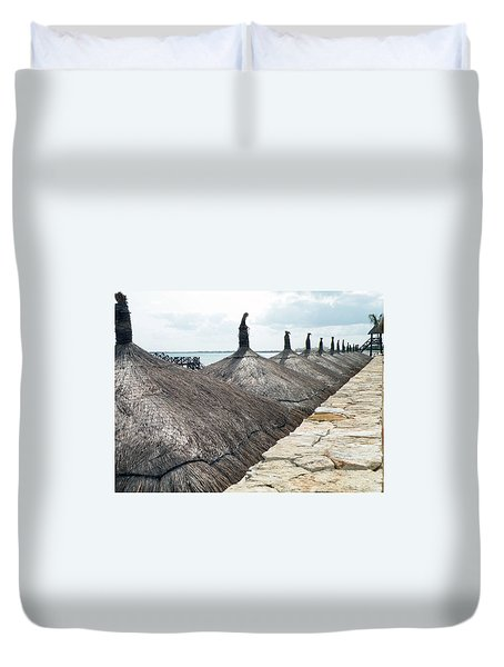 Beach Huts At The Grand Mayan Duvet Cover by Dianne Levy