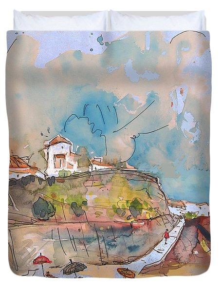 Beach In Ericeira In Portugal Duvet Cover by Miki De Goodaboom