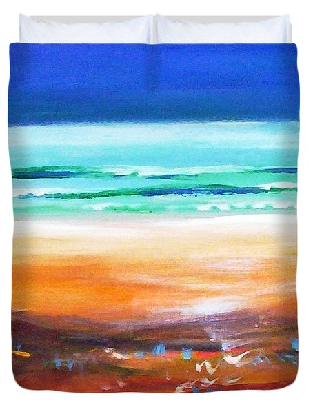 Duvet Cover featuring the painting Beach Joy by Winsome Gunning
