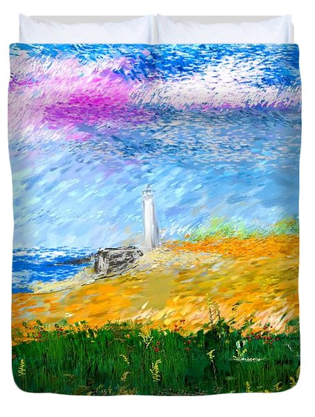 Beach Lighthouse Duvet Cover by David Lane