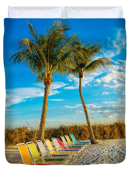Beach Lounges Under Palms Duvet Cover