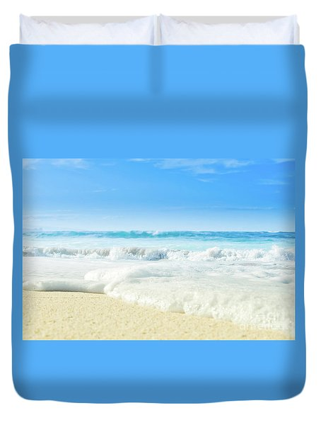 Duvet Cover featuring the photograph Beach Love Summer Sanctuary by Sharon Mau