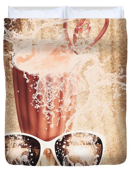 Beach Milkshake With A Strawberry Splash Duvet Cover
