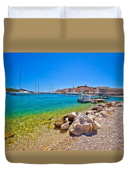 Beach Of Adriatic Town Primosten Duvet Cover by Brch Photography