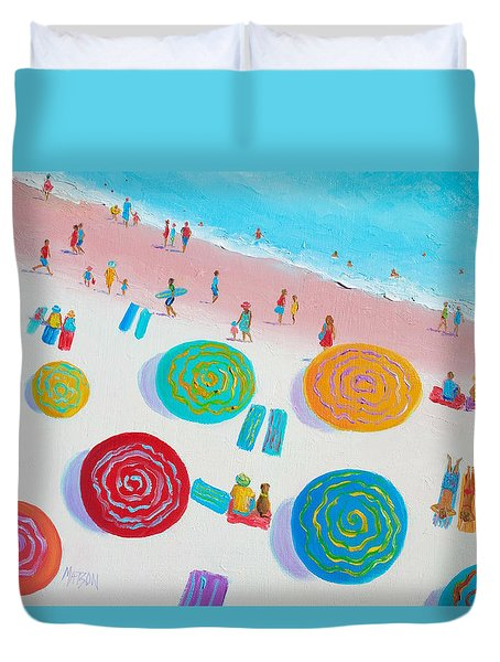 Beach Painting - A Walk In The Sun Duvet Cover by Jan Matson