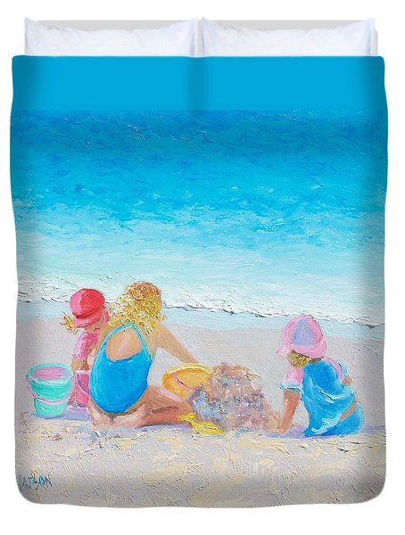 Beach Painting - Building Sandcastles Duvet Cover