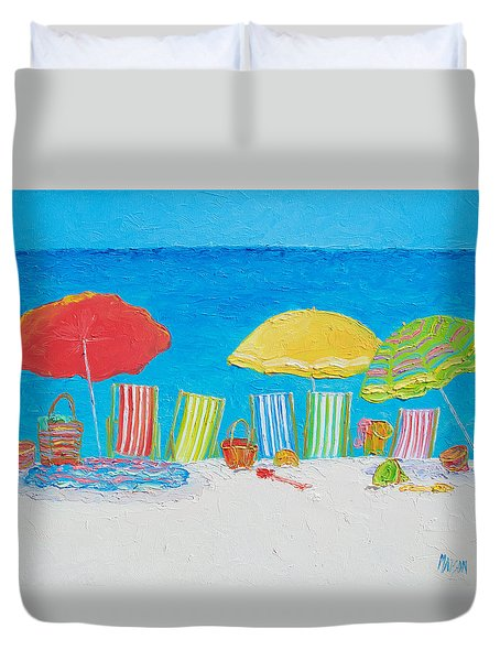 Beach Painting - Deck Chairs Duvet Cover