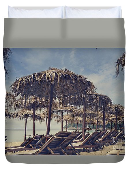 Beach Parasols Duvet Cover