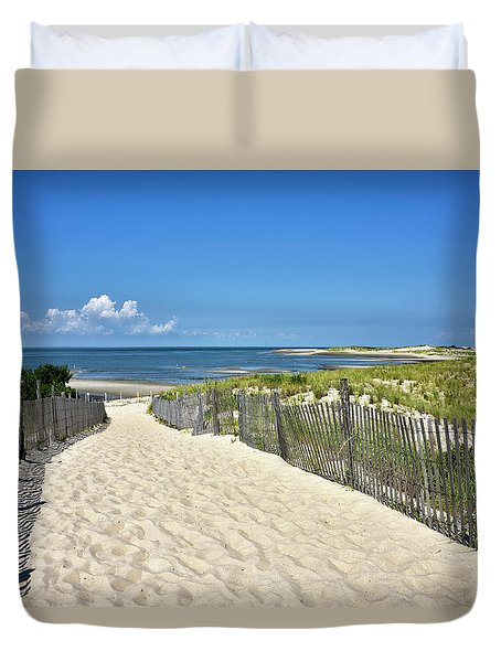 Duvet Cover featuring the photograph Beach Path At Cape Henlopen State Park - The Point - Delaware by Brendan Reals