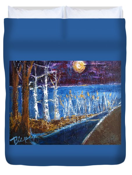 Beach Path At Night Duvet Cover by Betty Pieper