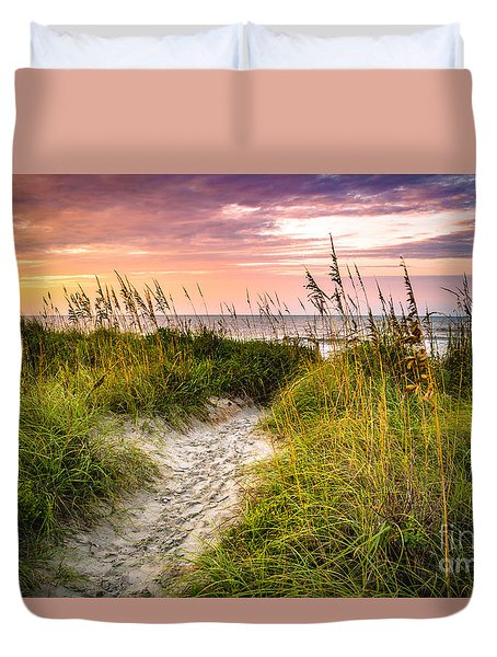 Beach Path Sunrise Duvet Cover