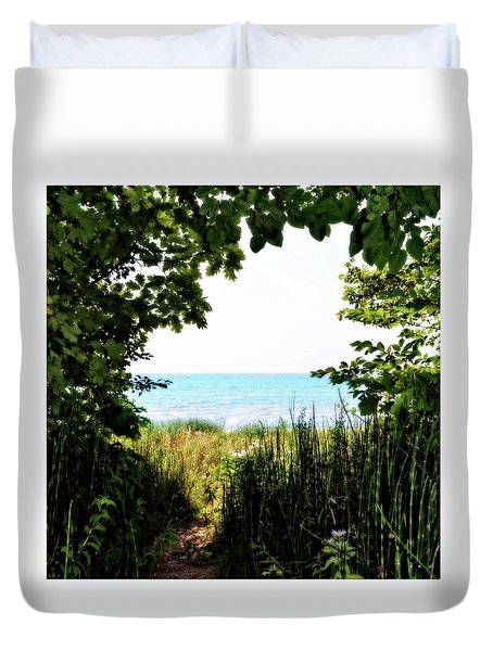 Duvet Cover featuring the photograph Beach Path With Snake Grass by Michelle Calkins