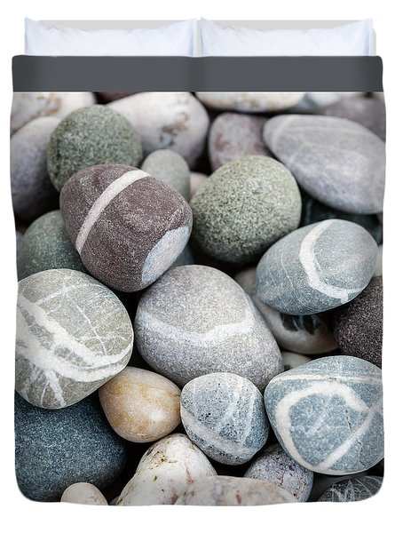 Duvet Cover featuring the photograph Beach Pebbles Close Up by Elena Elisseeva