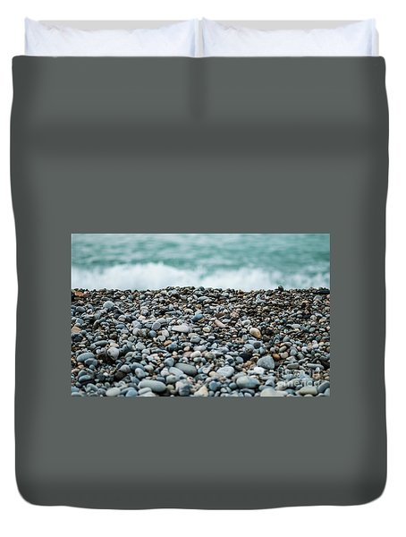 Duvet Cover featuring the photograph Beach Pebbles by MGL Meiklejohn Graphics Licensing