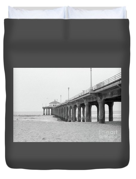 Beach Pier Film Frame Duvet Cover