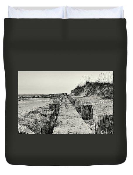 Beach Pilings Duvet Cover