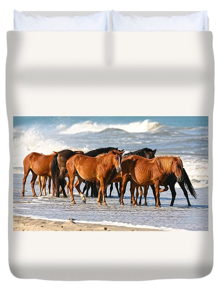Beach Ponies Duvet Cover