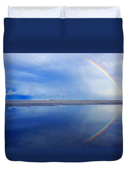 Beach Rainbow Reflection Duvet Cover