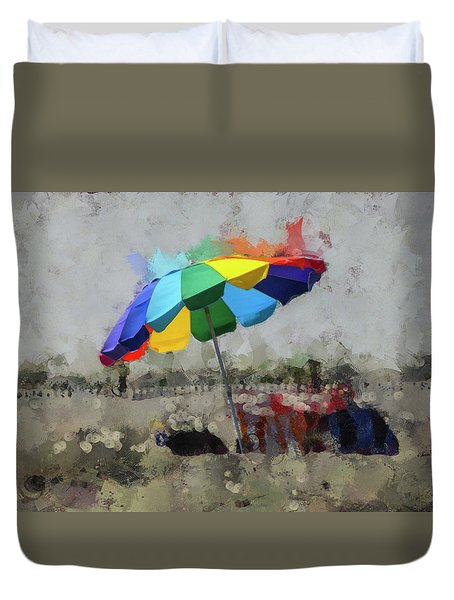 Duvet Cover featuring the mixed media Beach Ready by Trish Tritz