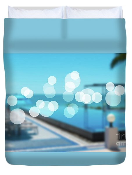 Duvet Cover featuring the photograph Beach Resort Concept by Atiketta Sangasaeng