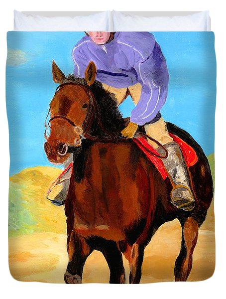 Duvet Cover featuring the painting Beach Rider by Rodney Campbell