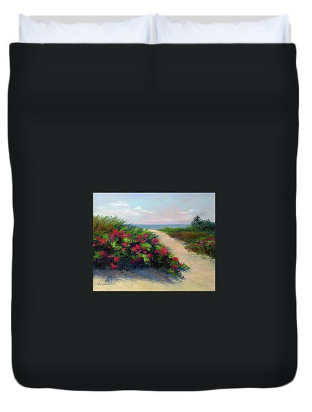 Beach Roses Duvet Cover